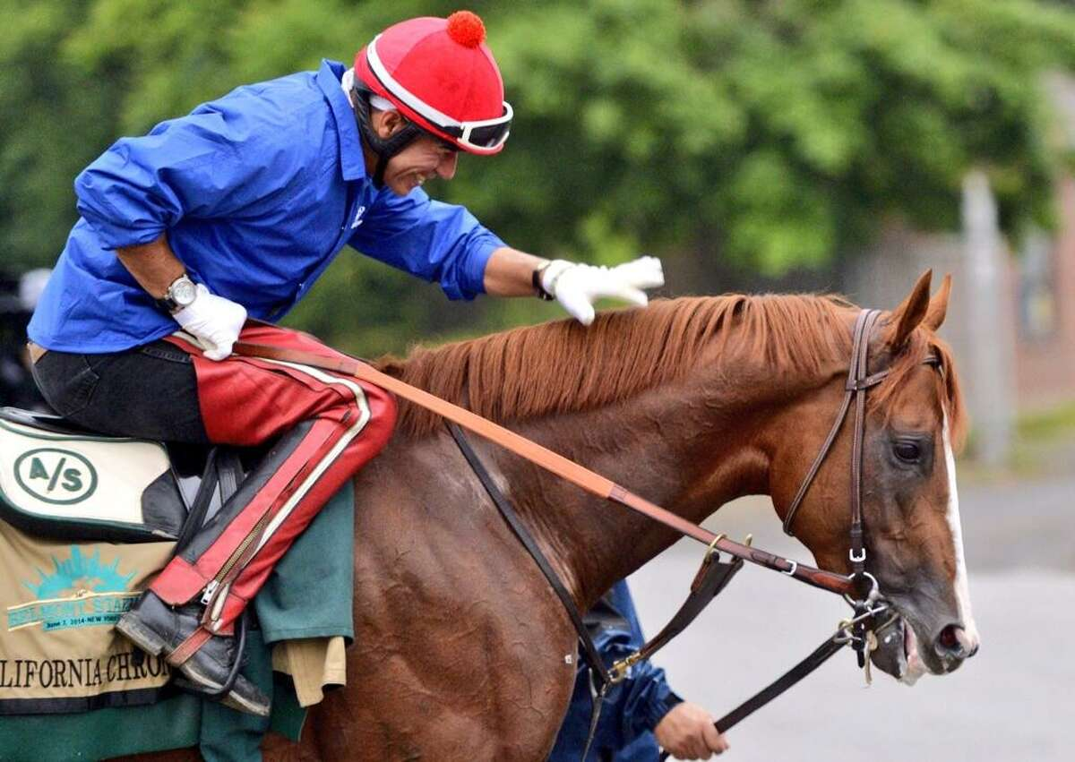 Exercise rider Willie Delgado gives California Chrome a friendly pat on the neck after the Triple Crown contenders morning workout at Belmont Park. (Skip Dickstein / Times Union)