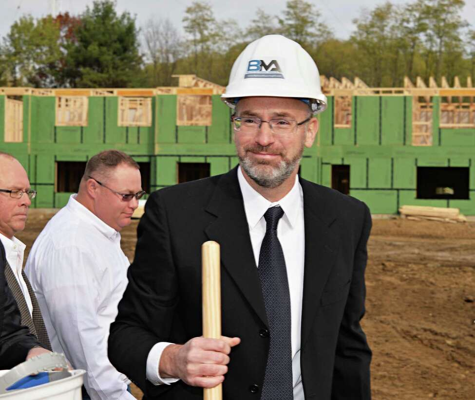Developer David Bruns during ground breaking ceremonies for his NetZero Village project Tuesday Oct. 28, 2014, in Rotterdam,NY. (John Carl D'Annibale / Times Union)