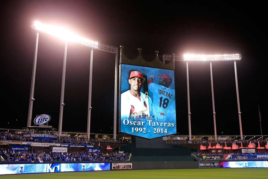 KANSAS CITY, MO - OCTOBER 28:  The late Oscar Taveras is honored prior Game Six of the 2014 World Series between the Kansas City Royals and the San Francisco Giants at Kauffman Stadium on October 28, 2014 in Kansas City, Missouri.  (Photo by Doug Pensinger/Getty Images) Photo: Doug Pensinger, Getty Images