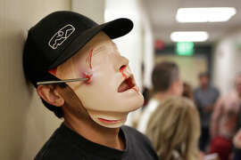 A student wears part of a zombie costume at Samuel Merritt University in Oakland.