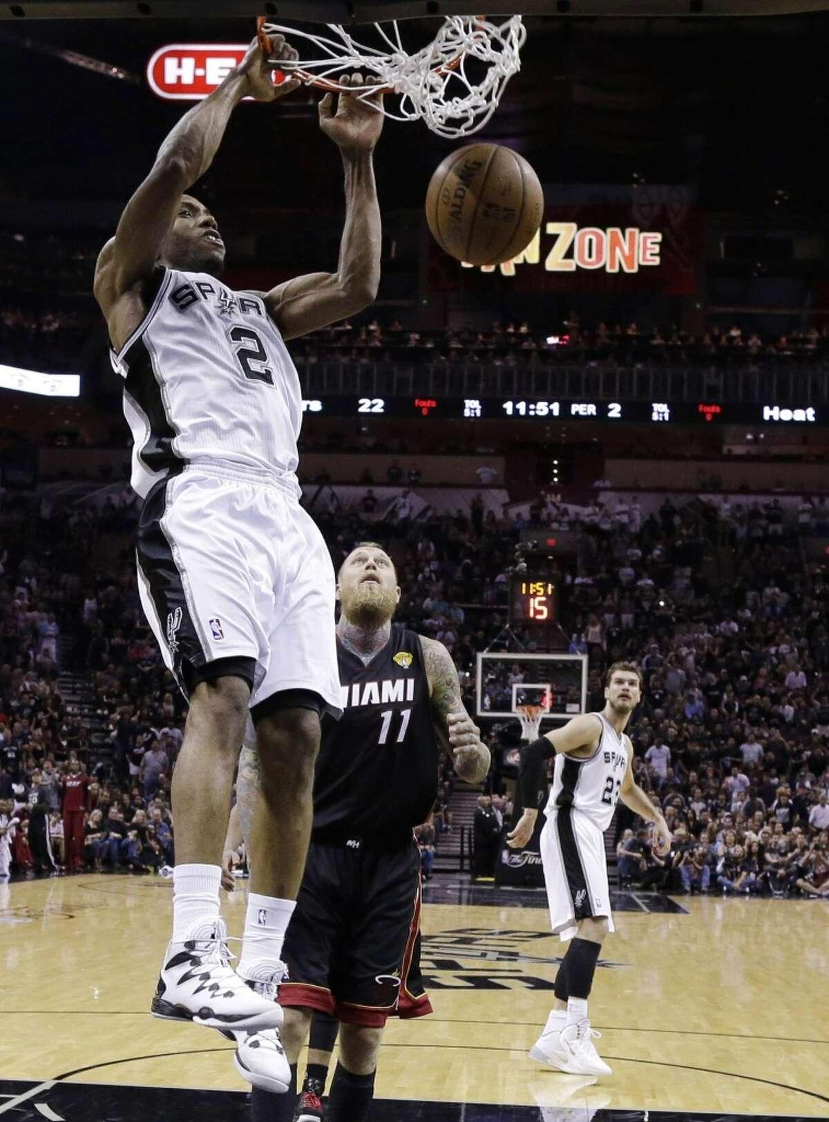 24. Kawhi Leonard Team: San Antonio Spurs Position: Small forward 2013-14Stats: 15.8 PPG, 7.7 RPG, 2.5 APG, 2.1 SPG