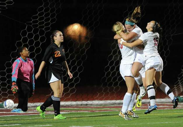 Scotia-Glenville celebrates a goal scored, the second by Kelsey Martin, during their Class A girls' soccer semifinals against Mohonasen on Tuesday Oct. 28, 2014 in Stillwater, N.Y. (Michael P. Farrell/Times Union) Photo: Michael P. Farrell / 00029235A