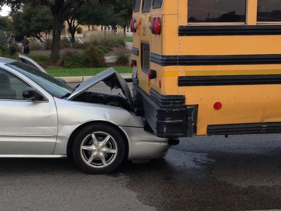 A San Antonio Independent School District bus was rear-ended Wednesday morning on the East Side. According police, the bus had come to a stop at a light at East Houston Street and Coca Cola Place around 8:15 a.m. Photo: By Mark D. Wilson/San Antonio Express-News