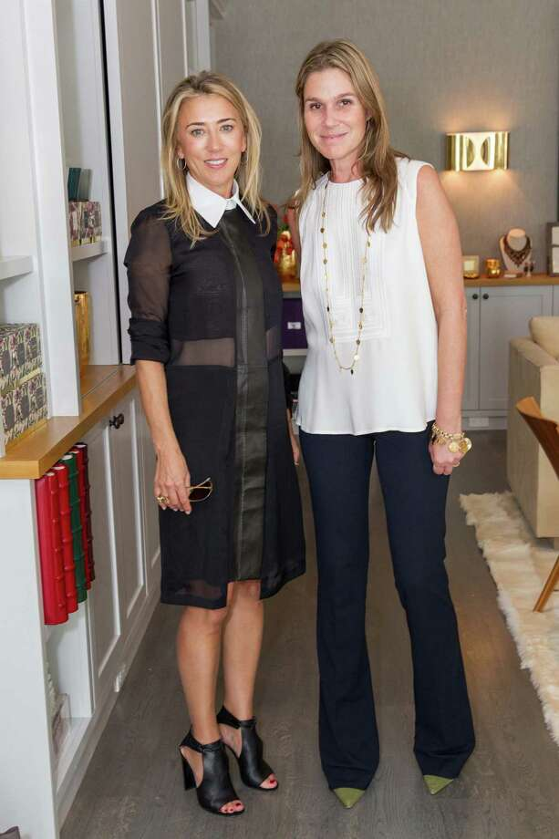 Juliet de Baubigny and Aerin Lauder at the pre-holiday trunk show for Aerin home, beauty and accessories collections on October 23, 2014. Photo: Drew Altizer Photography/SFWIRE, Drew Altizer Photography / ©Drew Altizer Photography 2014