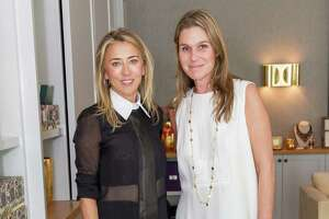Juliet de Baubigny and Aerin Lauder at the pre-holiday trunk show for Aerin home, beauty and accessories collections on October 23, 2014.