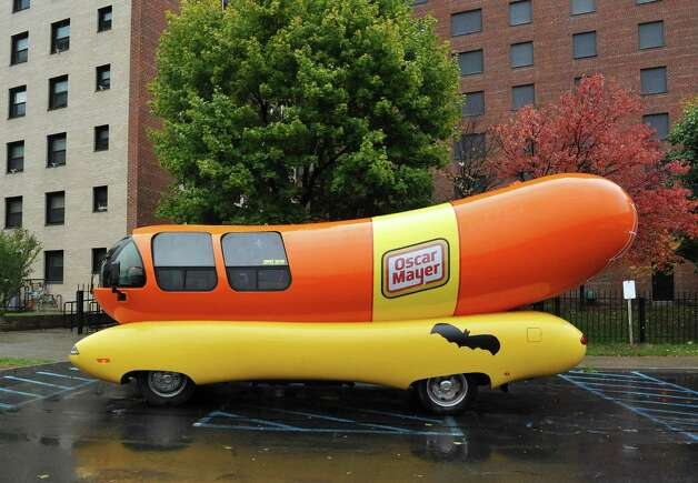 The Oscar Mayer Wienermobile parked outside the Meals on Wheels program of Senior Services of Albany kitchen Wednesday Oct. 29, 2014, in Albany, NY. (John Carl D'Annibale / Times Union) Photo: John Carl D'Annibale / 00029254A
