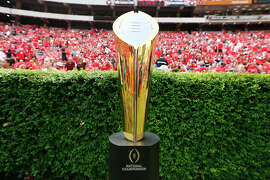 ATHENS, GA - SEPTEMBER 27:  The College Football Playoff National Championship Trophy is seen on the field prior to the game between the Georgia Bulldogs and the Tennessee Volunteers at Sanford Stadium on September 27, 2014 in Athens, Georgia.