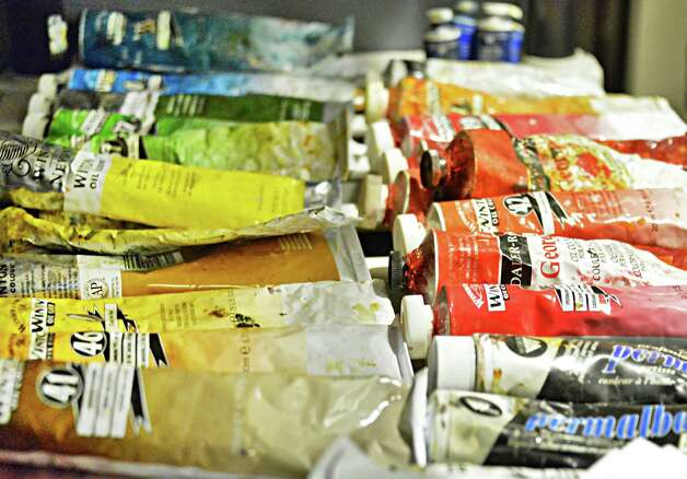 Tubes of paint in a studio at the Albany Barn Wednesday Oct. 22, 2014, in Albany, NY.  (John Carl D'Annibale / Times Union) Photo: John Carl D'Annibale / 00029051A