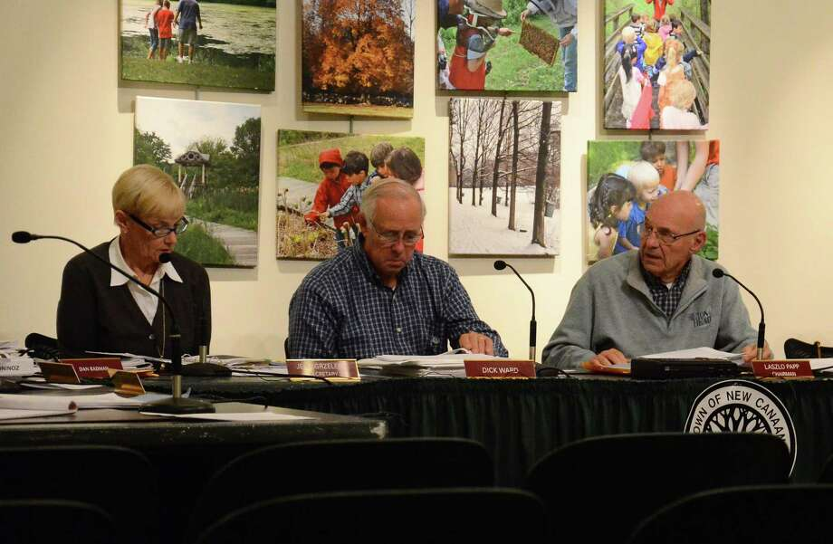 From left, Planning and Zoning Commission members Jean Grzelecki, Dick Ward and Laszlo Papp at a meeting at the New Canaan Nature Center, New Canaan, Conn., Tuesday, Oct. 28, 2014. Photo: Nelson Oliveira / New Canaan News
