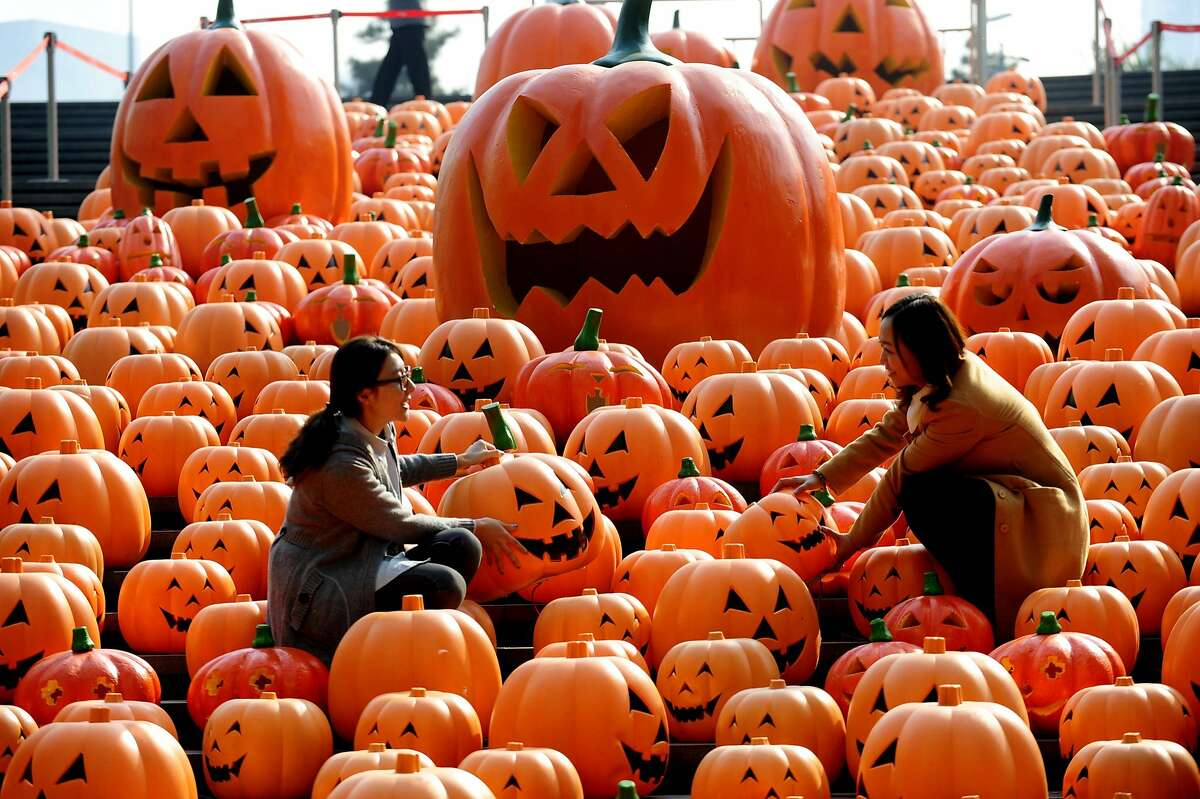 Outnumbered: Visitors pose for photos in an installation consisting of 500 pumpkin lights to mark Halloween in Shenyang, China.