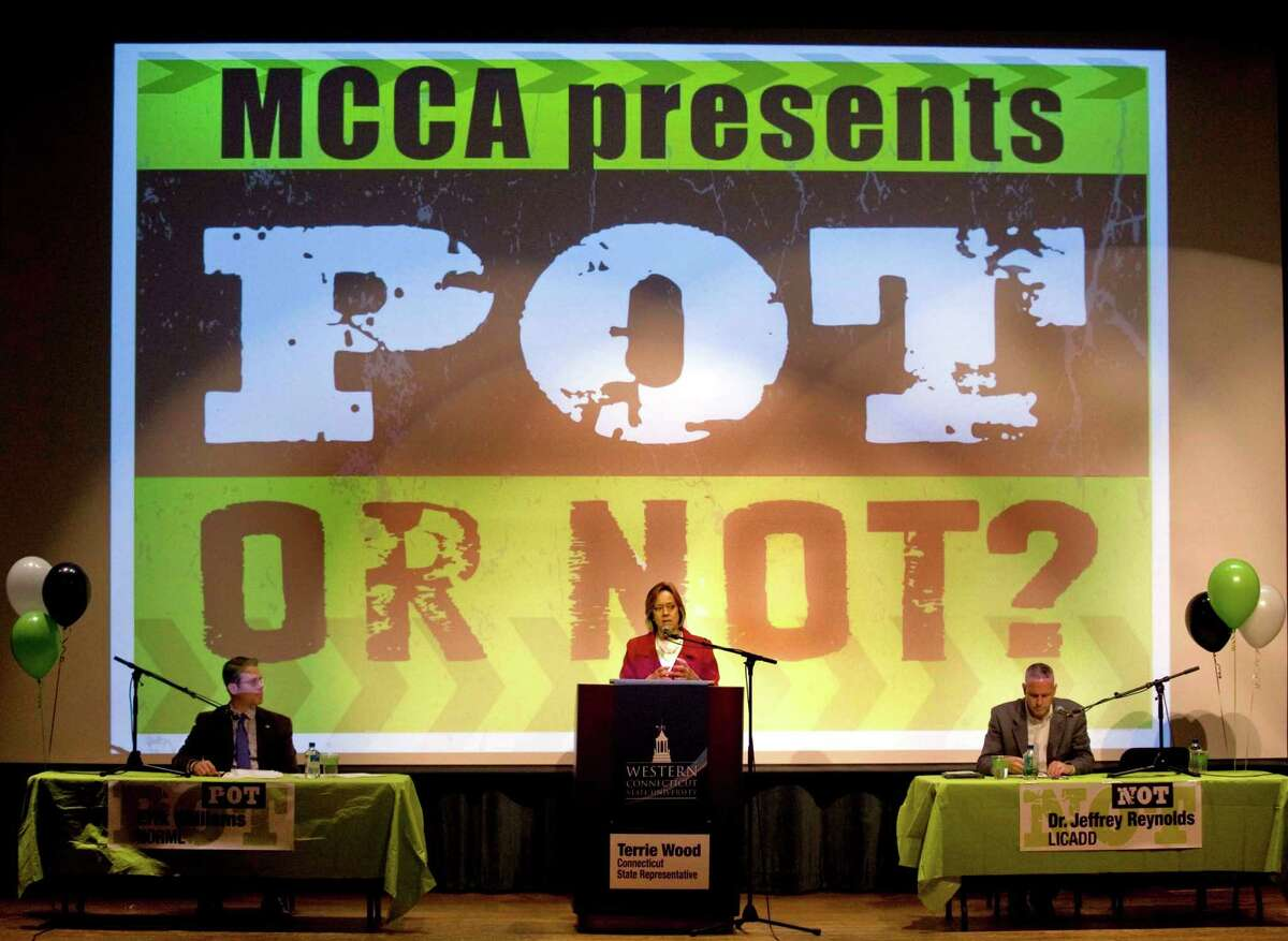 Erik Williams, Executive Director of Connecticut NORML (National Organization for the Reform of Marijuana Laws), State Representative Terri Wood and Dr. Jeffrey Reynolds, Executive Director of the LICADD (Long Island Council of Alcoholism and Drug Dependence) participate in a debate of the future use of marijuana in Connecticut held in the Ives Concert Hall at Western Connecticut State University on Wednesday, Oct. 30, 2013.