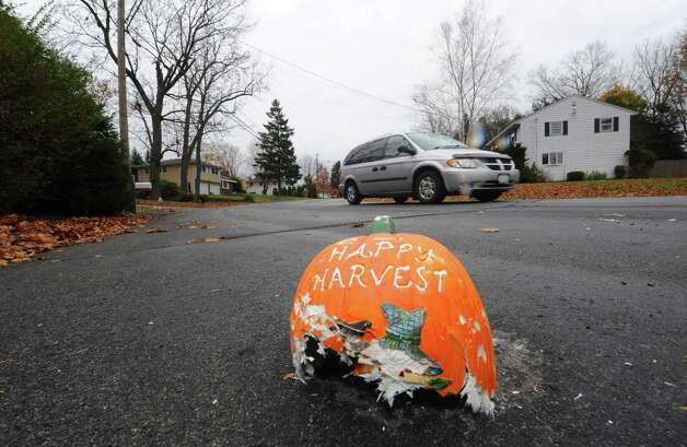 A broken household Halloween decoration sits on Joy Drive near Danielwood Drive in Colonie, NY Thursday Nov.1, 2012. (Michael P. Farrell/Times Union) Photo: Michael P. Farrell / 00019930A