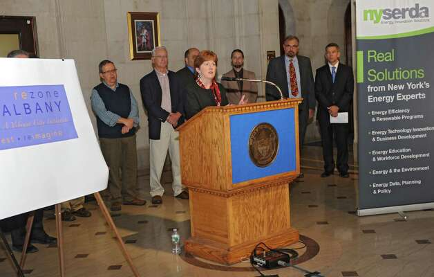 Mayor Kathy Sheehan announces the Albany's effort to rezone the entire city on Wednesday, Oct. 29, 2014, in Albany, N.Y.  (Lori Van Buren / Times Union) Photo: Lori Van Buren / 00029245A