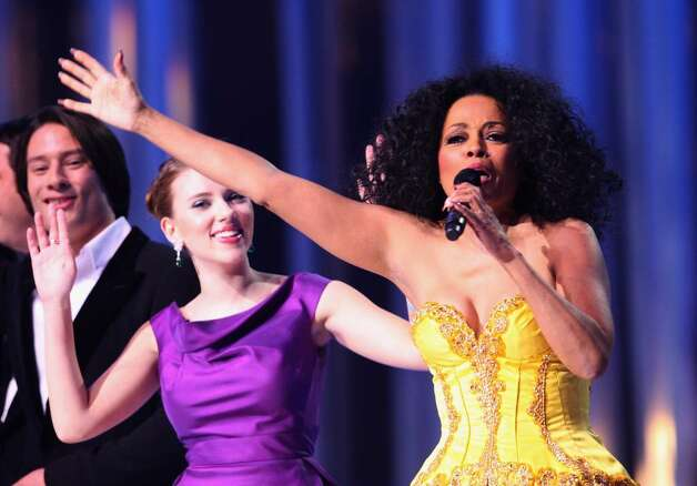 OSLO, NORWAY - DECEMBER 11:  Actress Scarlett Johansson and Diana Ross dance on stage at the Nobel Peace Prize Concert 2008 at the Oslo Spektrum on December 11, 2008 in Oslo, Norway. The Norwegian Nobel Committee yesterday awarded the Nobel Peace Prize for 2008 to Martti Ahtisaari for his efforts to resolve international conflicts. Actors Michael Caine and Scarlett Johansson are hosting the gala event which features performances from Diana Ross, operatic quartet Il Divo and Swedish singer-songwriter Robyn.  (Photo by Chris Jackson/Getty Images) *** Local Caption *** Scarlett Johansson;Diana Ross Photo: Chris Jackson, Getty Images / 2008 Getty Images