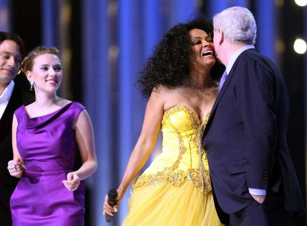 OSLO, NORWAY - DECEMBER 11:  Actress Scarlett Johansson, Diana Ross and Michael Caine dance on stage at the Nobel Peace Prize Concert 2008 at the Oslo Spektrum on December 11, 2008 in Oslo, Norway. The Norwegian Nobel Committee yesterday awarded the Nobel Peace Prize for 2008 to Martti Ahtisaari for his efforts to resolve international conflicts. Actors Michael Caine and Scarlett Johansson are hosting the gala event which features performances from Diana Ross, operatic quartet Il Divo and Swedish singer-songwriter Robyn.  (Photo by Chris Jackson/Getty Images) *** Local Caption *** Scarlett Johansson;Diana Ross;Michael Caine Photo: Chris Jackson, Getty Images / 2008 Getty Images