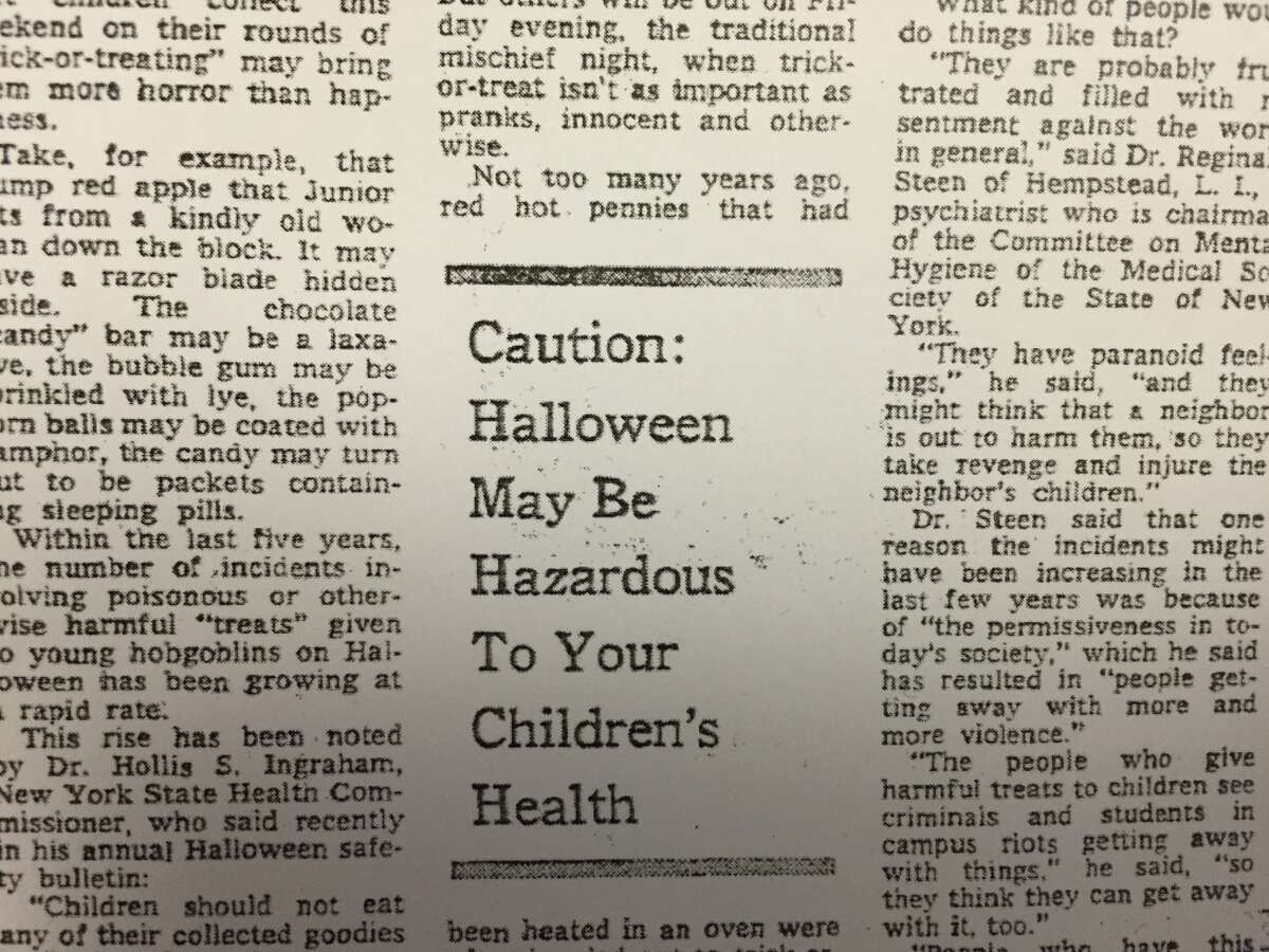 Taking the (poisonous) cake when it comes to causing Halloween panic, however, has to be this New York Times' article from Oct. 28, 1970 - Those Treats May Be Tricks, which begins: