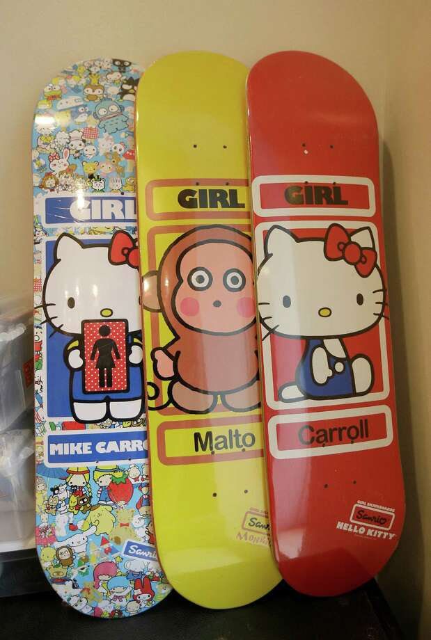 Among the couple's collection are Hello KItty skateboards. The character is on products from lunch boxes to light bulbs. Photo: Jeff Chiu / Associated Press / AP