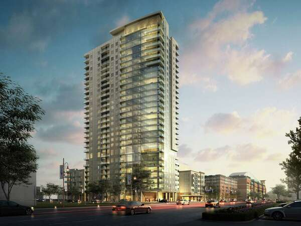 A rendering of Catalyst Houston being developed by Chicago-based Marquette Cos. on a block just west of Minute Maid Park. Construction will begin Nov. 5 on the 361-unit apartment building.
