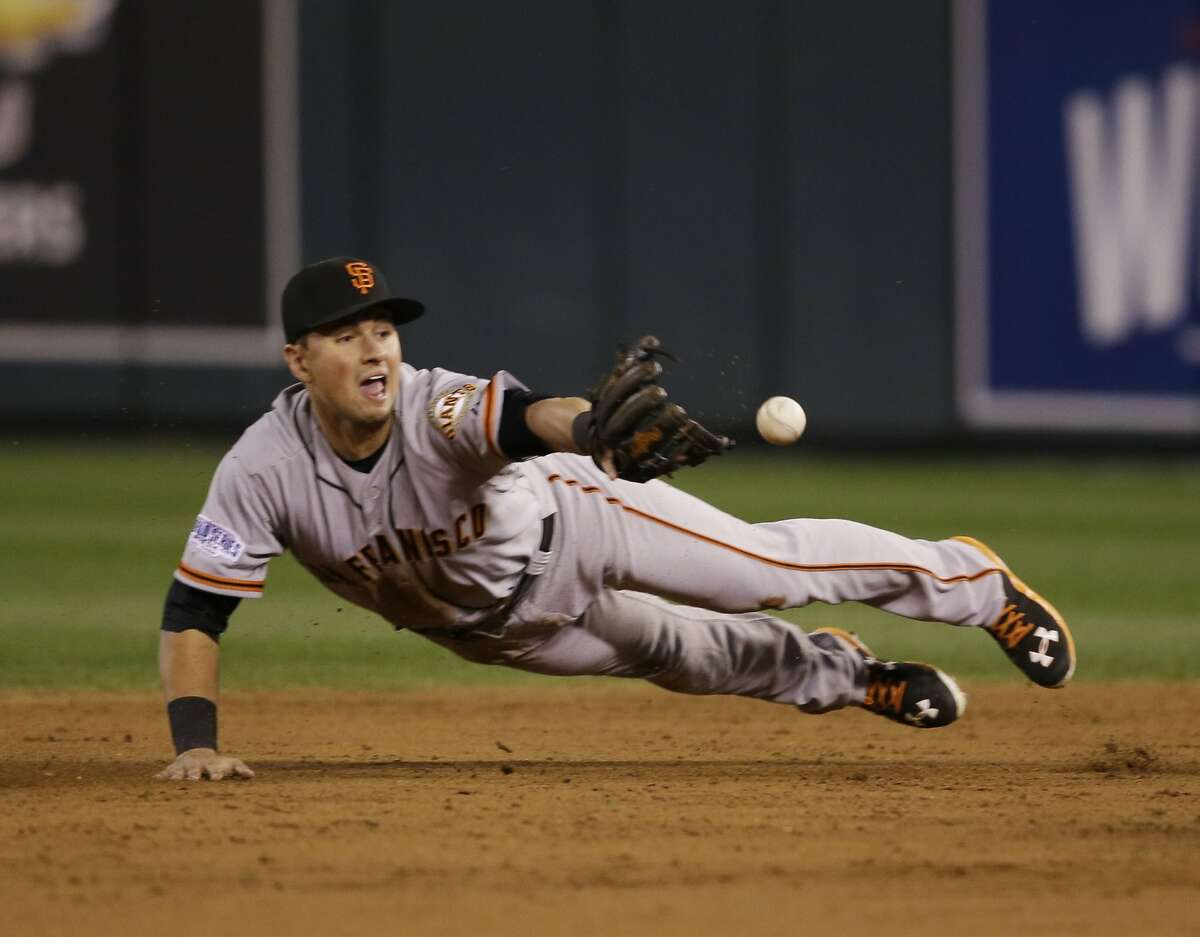 San Francisco Giants second baseman Joe Panik (12) flips the ball to Brandon Crawford for a double play on a grounder by Kansas City Royals Eric Hosmer during the third inning of Game 7 of baseball's World Series Wednesday, Oct. 29, 2014, in Kansas City, Mo. (AP Photo/Charlie Neibergall)