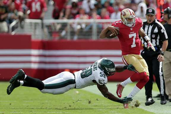 Linebacker DeMeco Ryans, chasing down 49ers quarterback Colin Kaepernick, is in his third season with the Eagles after six with the Texans.