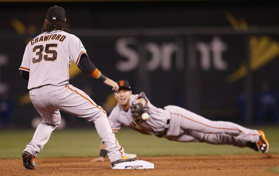 Giants Joe Panik flips the ball from his glove to Brandon Crawford on a double play in the third inning during Game 7 of the World Series at Kauffman Stadium on Wednesday, Oct. 29, 2014 in Kansas City, Mo. Photo: Michael Macor, The Chronicle