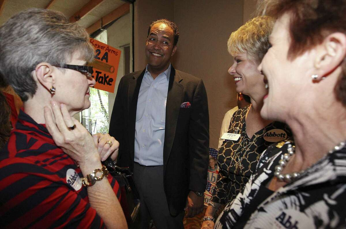 Will Hurd, who's seeking the U.S. Congressional District 23 seat, chats with supporters at the Alamo Café event. The local GOP is pushing for more people to vote.
