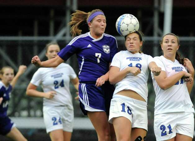 Hoosick Falls Alyssa Houghton heads a ball during their Class B girls' soccer semifinals against CCHS on Wednesday Oct. 29, 2014 in Troy, N.Y. (Michael P. Farrell/Times Union) Photo: Michael P. Farrell / 00029247A
