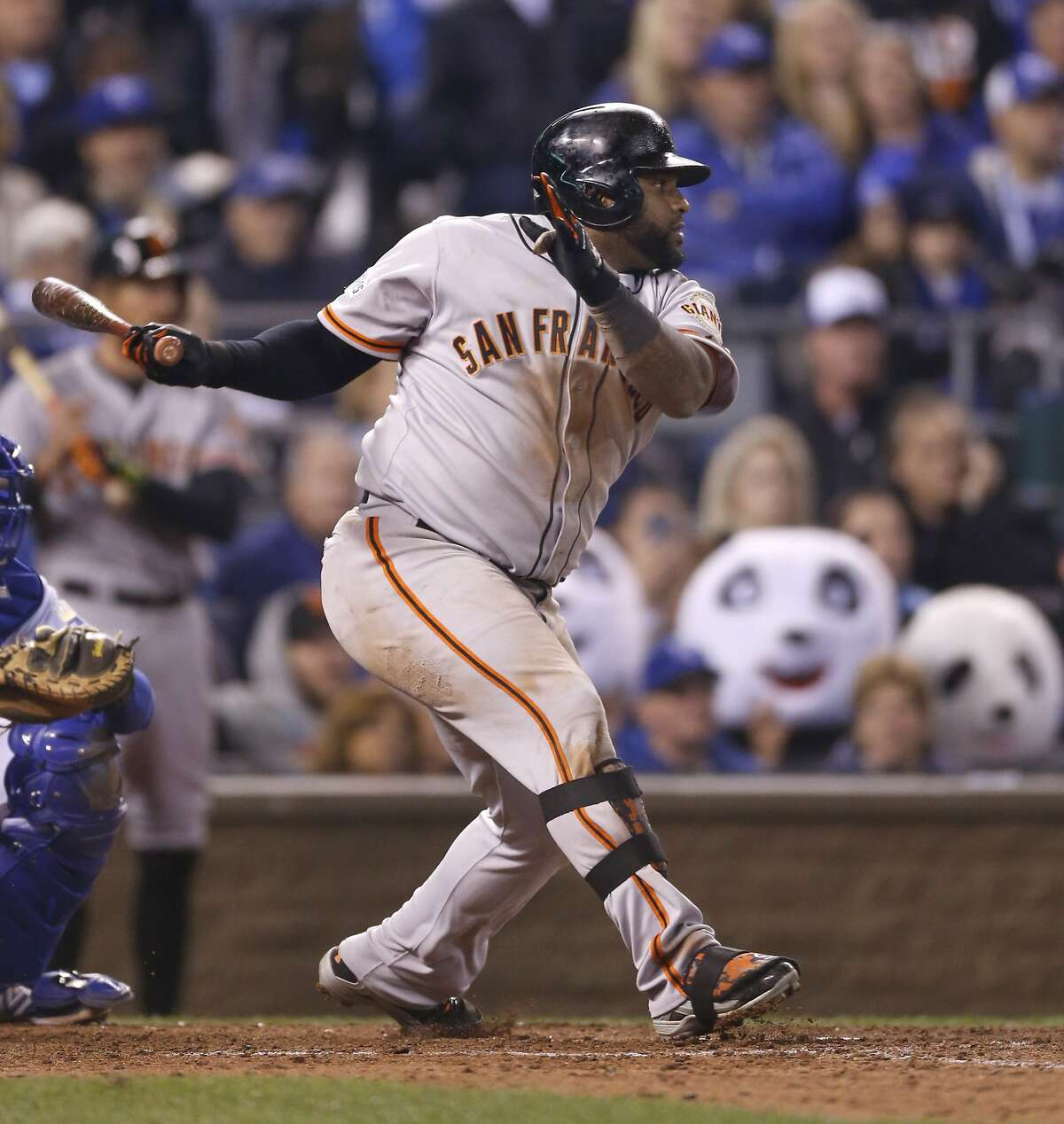 Giants Pablo Sandoval doubles in the eighth inning during Game 7 of the World Series at Kauffman Stadium on Wednesday, Oct. 29, 2014 in Kansas City, Mo.