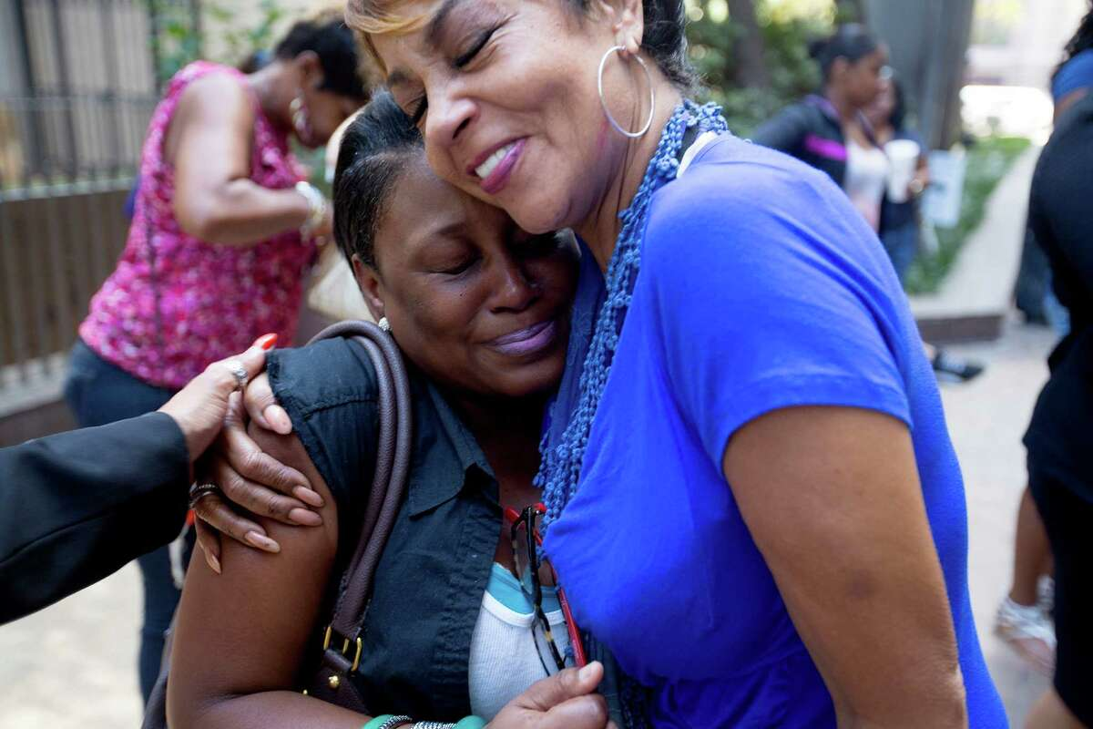 Vanessa Campbell, left, celebrates her vote Wednesday with a hug from Kathryn Griffin-Townsend, who founded and runs the