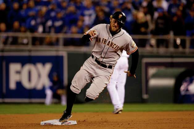 KANSAS CITY, MO - OCTOBER 29: Hunter Pence #8 of the San Francisco Giants rounds the bases in the fourth inning against the Kansas City Royals during Game Seven of the 2014 World Series at Kauffman Stadium on October 29, 2014 in Kansas City, Missouri.  (Photo by Ezra Shaw/Getty Images) ORG XMIT: 519100543 Photo: Ezra Shaw / 2014 Getty Images