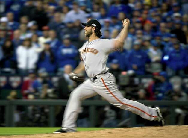 San Francisco Giants relief pitcher Madison Bumgarner (40) pitches in the seventh inning of Game 7 of baseball's World Series against the Kansas City Royals Wednesday, Oct. 29, 2014, in Kansas City, Mo. (AP Photo/The Sacramento Bee, Jose Luis Villegas)  MAGS OUT; LOCAL TELEVISION OUT (KCRA3, KXTV10, KOVR13, KUVS19, KMAZ31, KTXL40); MANDATORY CREDIT  ORG XMIT: CASAB208 Photo: Jose Luis Villegas / The Sacramento Bee