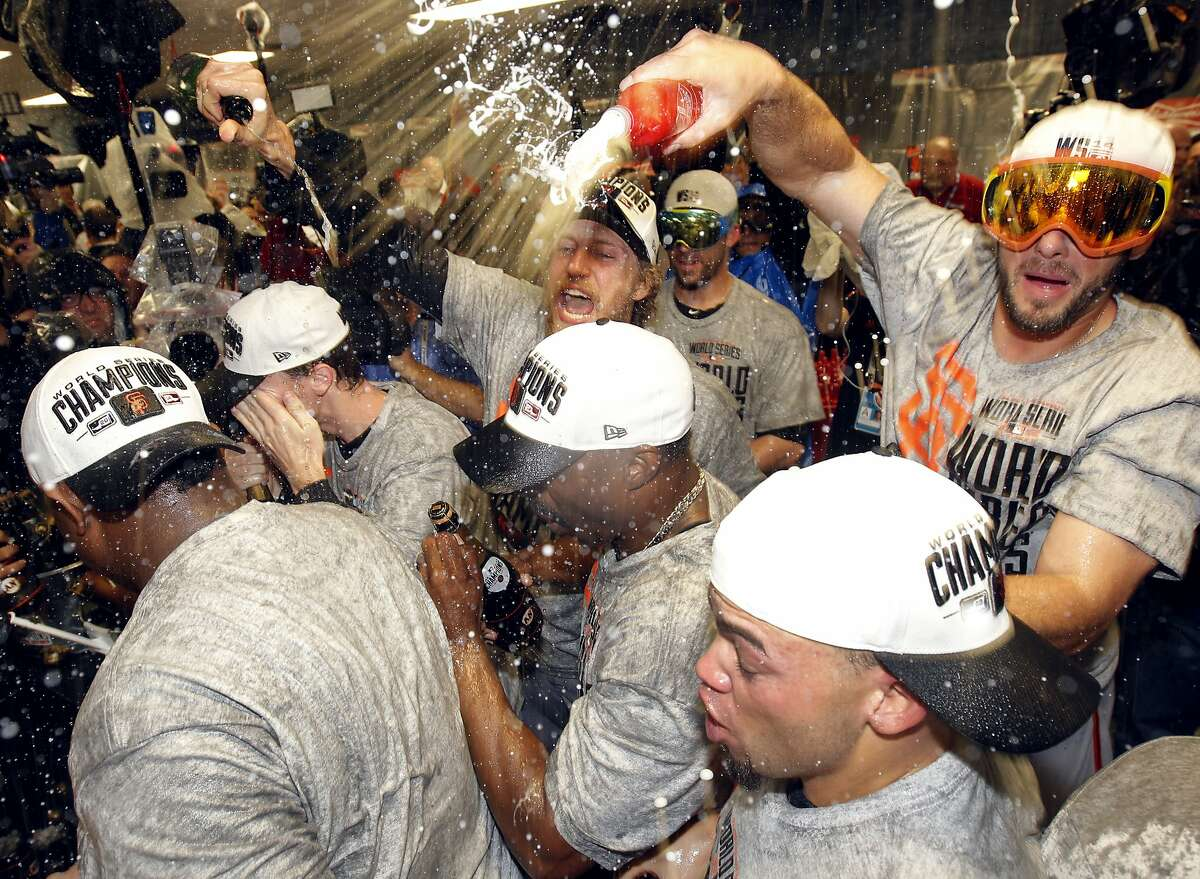 The Giants celebrate their World Series win in Game 7 at Kauffman Stadium on Wednesday, Oct. 29, 2014 in Kansas City, Mo.