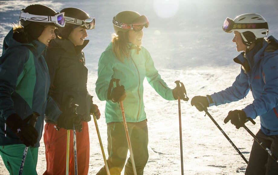 Arc'teryx Women's Camps offer two-day weekend camps at Whistler Blackcomb for skiers and riders of all levels. Photo: Whistler Blackcomb / ONLINE_YES