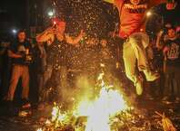 Fans celebrate in the streets of San Francisco after the Giants won the wold series on October 29th 2014.