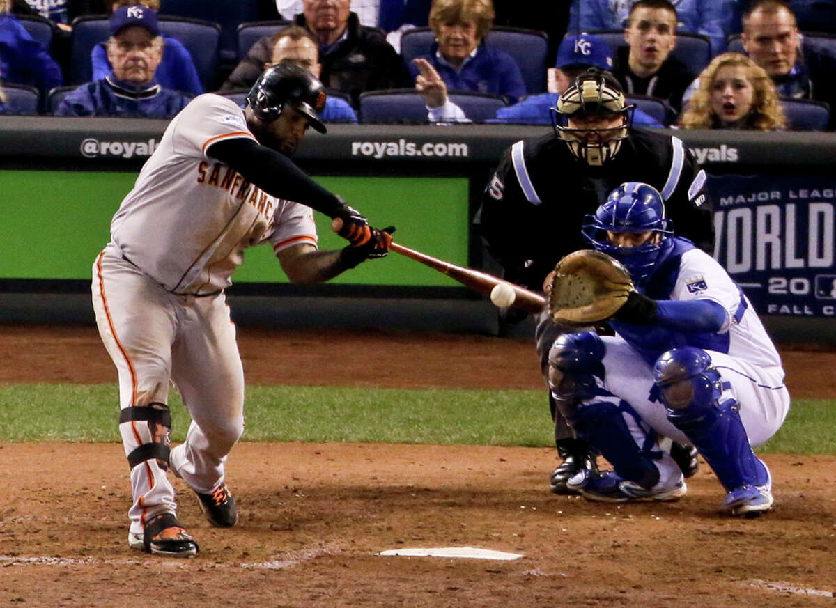 Bat used by Giants' third baseman Pablo Sandoval in Game 7; Sandoval set a new Postseason record with 26 hits