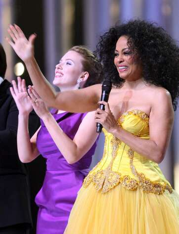 OSLO, NORWAY - DECEMBER 11:  Actress Scarlett Johansson and Diana Ross dance on stage at the Nobel Peace Prize Concert 2008 at the Oslo Spektrum on December 11, 2008 in Oslo, Norway. The Norwegian Nobel Committee yesterday awarded the Nobel Peace Prize for 2008 to Martti Ahtisaari for his efforts to resolve international conflicts. Actors Johansson and Michael Caine hosted the gala event which featured performances by Ross, operatic quartet Il Divo and Swedish singer-songwriter Robyn.  (Photo by Chris Jackson/Getty Images) *** Local Caption *** Scarlett Johansson;Diana Ross Photo: Chris Jackson, Getty Images / 2008 Getty Images