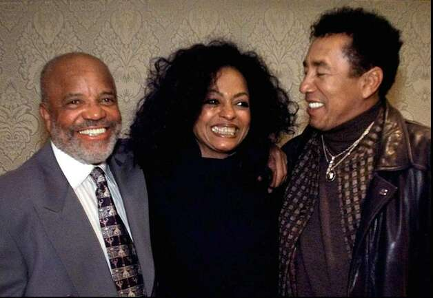 Berry Gordy, left, Diana Ross, center, and Smokey Robinson pose in the green room during the Television Crtics Association winter press tour Thursday, Jan. 15, 1998, in Pasadena, Calif. Ross will host a four-hour primetime special 'Motown 40:The Music is Forever,' airing in mid Feberuary on ABC television to celebrate the 40th anniverasy of Motown record label founded by Gordy. (AP Photo/Kevork Djansezian) Photo: Contributed Photo / Greenwich Time Contributed
