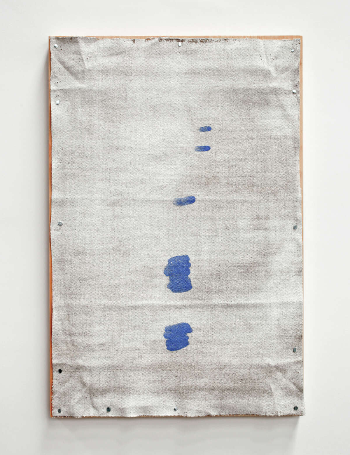 """Meager color dots John Zurier's """"Icelandic Painting (12 Drops)"""" (2012), watercolor on linen on panel."""