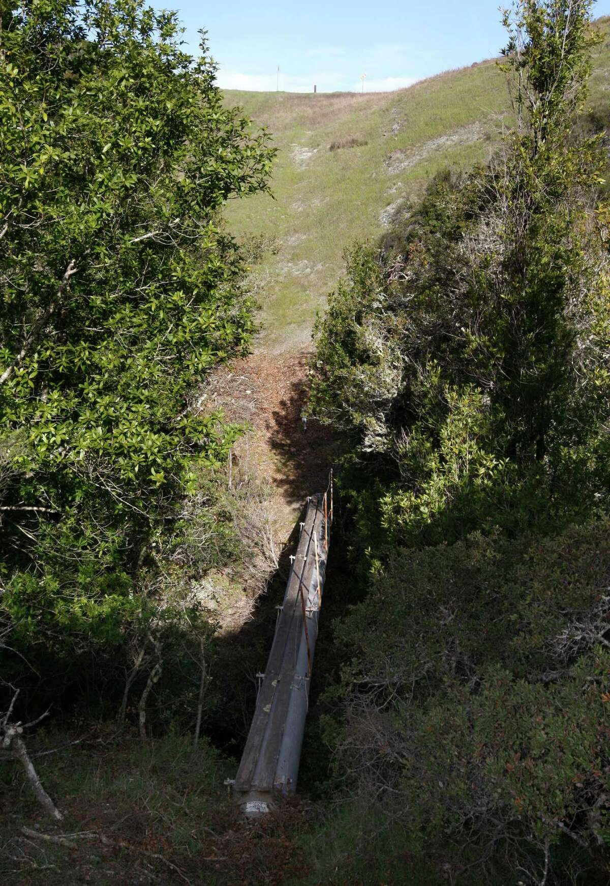 An exposed section of PG&E pipeline on the Peninsula.