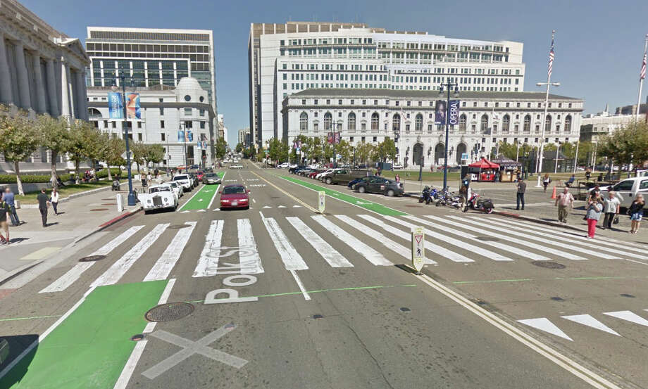 """The crosswalk in front of San Francisco City Hall where Priscila """"Precy"""" Moreto, was killed after being hit by a bus last week. Photo: Google Maps"""