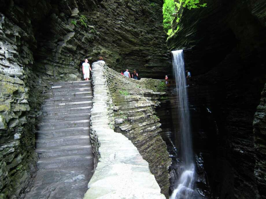 Trails weave around waterfalls and amazing rock formations in New York's Watkins Glen State Park.