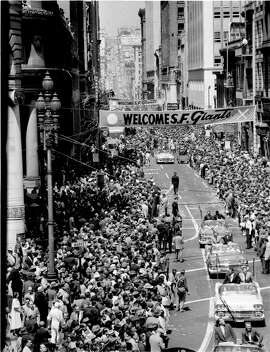 The Giants were welcomed to San Francisco with a parade on May 20, 1958. From that parade to three recent World Series victory parades, San Francisco has feted the baseball team and many others along Market St. Here's a look back at some of the city's historic parades.