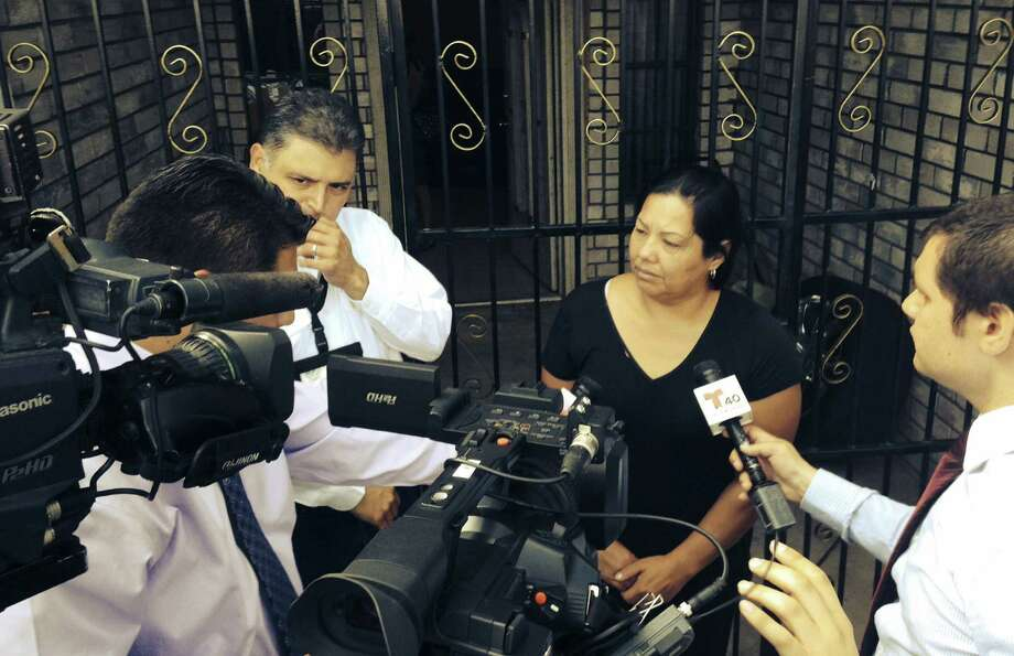 Raquel Alvarado, mother of the three siblings, is interviewed outside her Progreso home. She is accusing Mexican authorities of being complicit in the kidnapping and death of her children. Photo: Aaron Nelsen / San Antonio Express-News / San Antonio Express-News