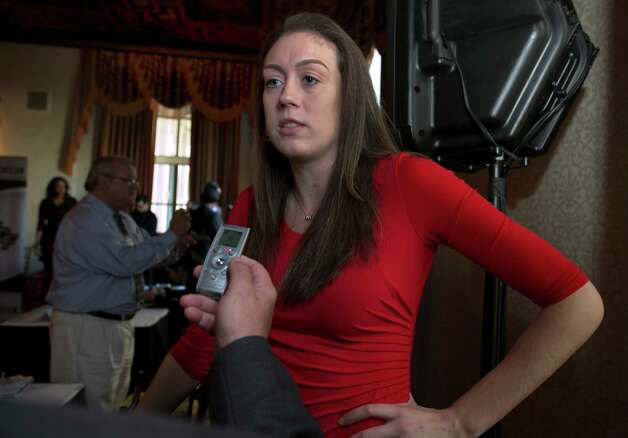 UConn junior forward Breanna Stewart is interviewed during the American Athletic Conference women's NCAA college basketball media day, in New York,  Thursday, Oct. 30, 2014. (AP Photo/Richard Drew) ORG XMIT: NYRD102 Photo: Richard Drew / AP