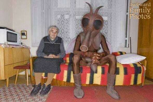 This mom loved her son but she was a little afraid of him when he dressed up like a bug and was afraid to sit right next to him.
