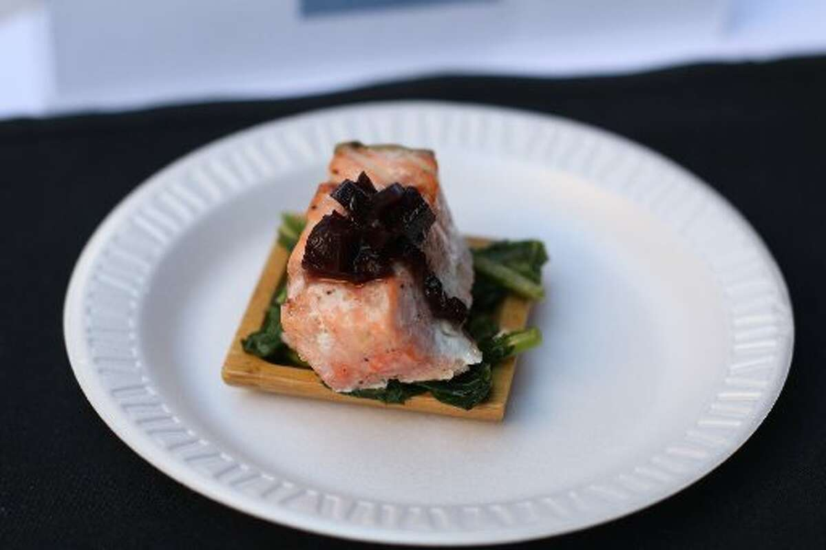 Salmon with Roasted Beet Sauce and Wilted Greens will be on the menu at Sparrow Bar + Cookshop.