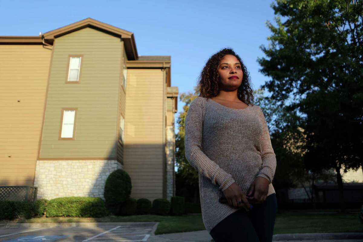 Stephanie Powers slowly has been priced out of the Inner Loop where she prefers to live as opposed to the Energy Corridor where she pays $850.00 for rent for a one bedroom apartment on Thursday, Oct. 30, 2014, in Houston. ( Mayra Beltran / Houston Chronicle )