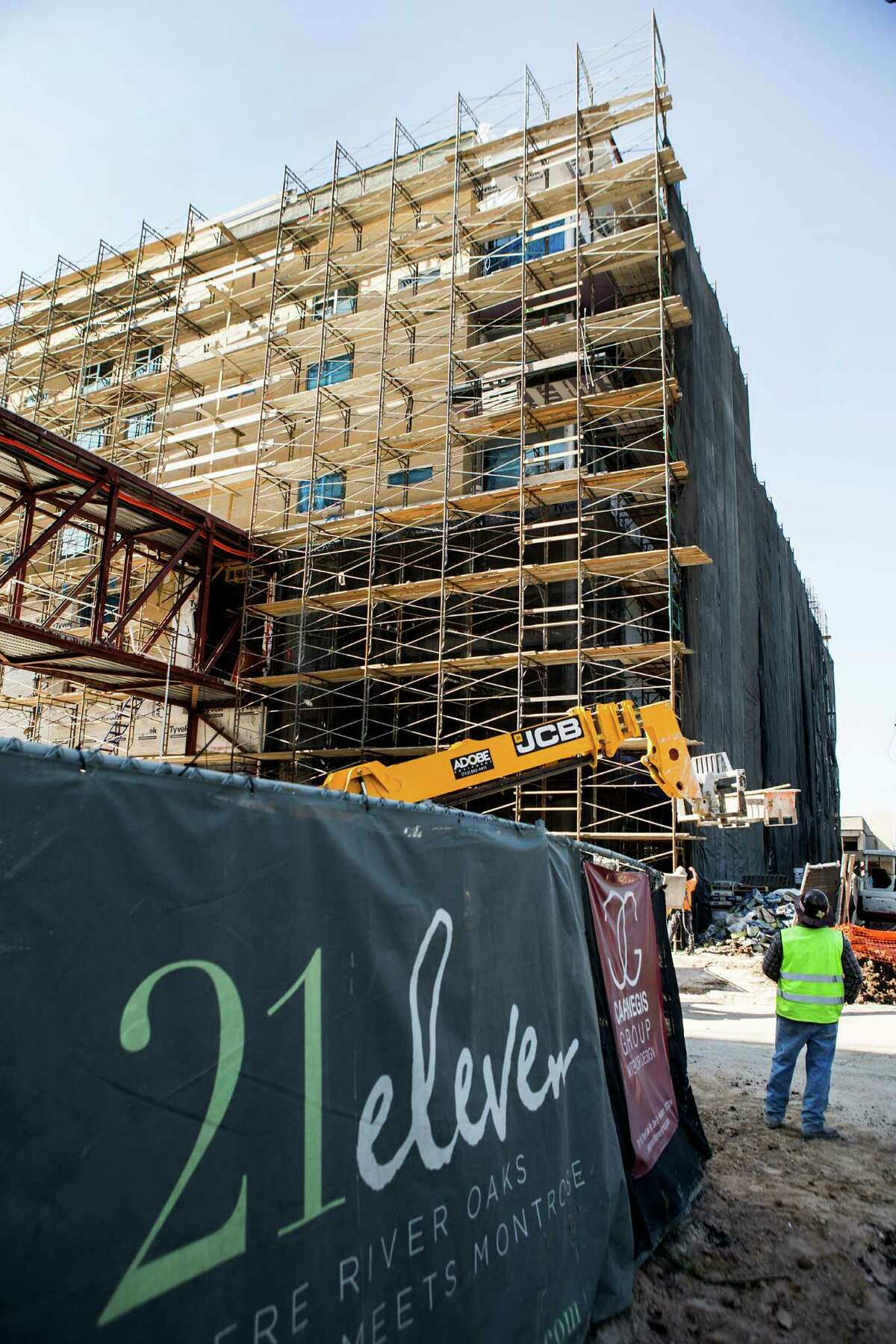 An Oct. 30, 2014 construction photo show the progress of 21eleven, a 215-unit apartment complex was developed by Hines at 2111 Westheimer. It is now named Pearl 21 Eleven.