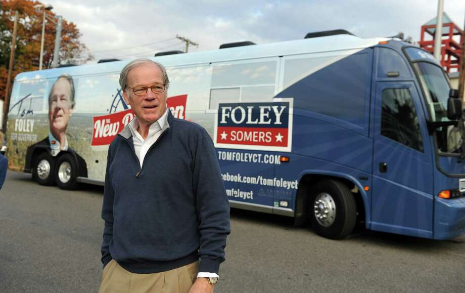 "Republican candidate for governor Tom Foley starts his bus tour Friday, Oct. 31, 2014, at Bull's Head Diner in Stamford, Conn. The 45-foot-long tour bus is like a ""billboard on wheels,"" Foley said. Photo: Autumn Driscoll / Connecticut Post"