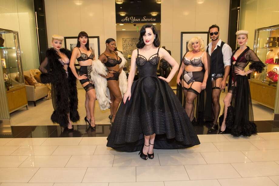 "For an in-store appearance at Bloomingdale's Sept. 9, 2014, burlesque star Dita von Teese brought the cast of her full-length revue, ""Burlesque: Strip, Strip, Hooray!"" to model her line of lingerie and to show how the collection ""caters to all different shapes and sizes."" Photo: Susana Bates For Drew Altizer Photography"